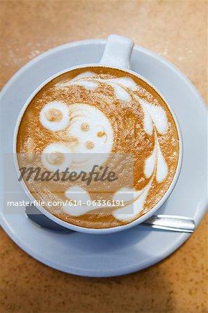 Teddy bear and heart shapes in coffee foam