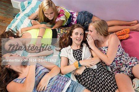 Girls lying on bed, gossiping