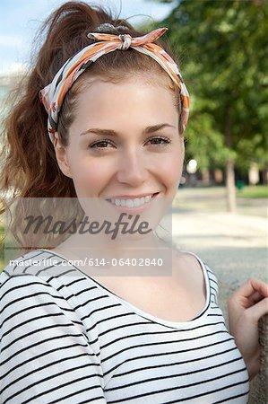 Young woman wearing headscarf, portrait
