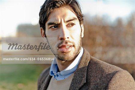 Close up of man's serious face