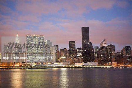 New York City skyline lit up at night