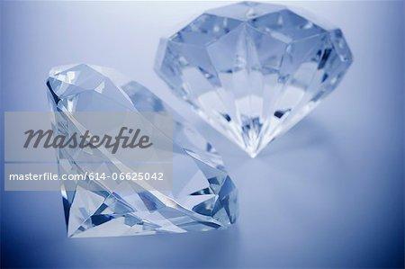 Close up of cut diamonds