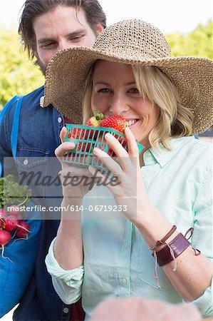 Couple shopping at farmer's market