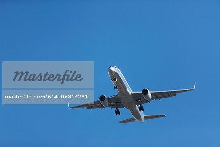 Aeroplane in clear blue sky