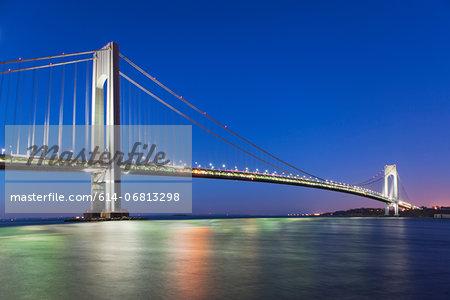 Verrazano-narrows bridge after sunset, New York City, USA