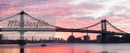 Panoramic view of Manhattan bridge at sunset, New York City, USA