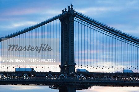 Trucks on Manhattan bridge, New York City, USA