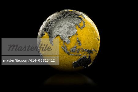 Yellow and black globe Asia and Australia