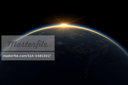 Sunlight eclipsing planet earth