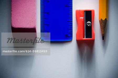 Eraser, ruler, pencil sharpener and pencil
