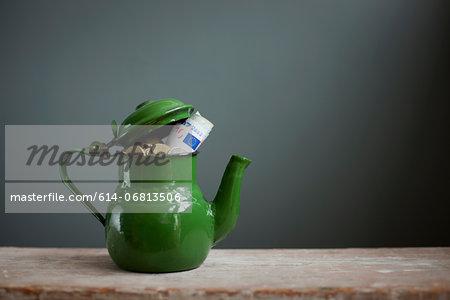 Teapot with Euros inside