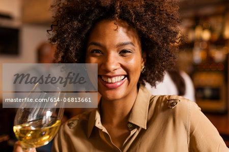 Woman having a drink