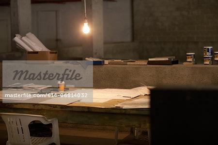 Empty makeshift office at night