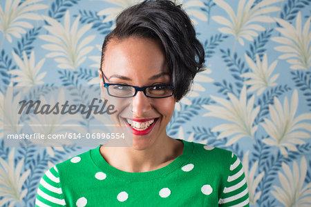 Retro style portrait of smiling woman