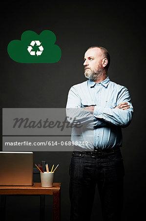 Man looking at environmental issue