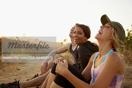 Friends enjoying hillside