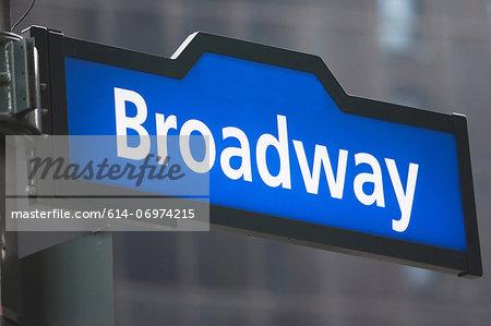 Broadway street sign, New York City, USA