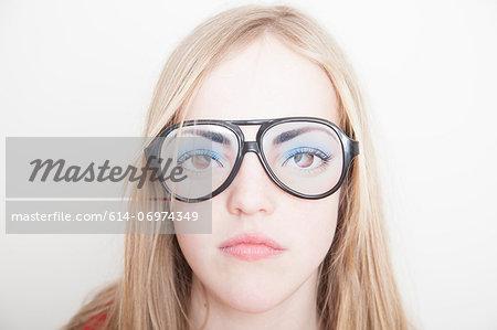 Girl wearing fake glasses