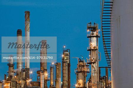 Refinery smokestacks, Montreal, Quebec, Canada