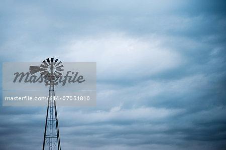 Silhouette of windmill, South Dakota, USA