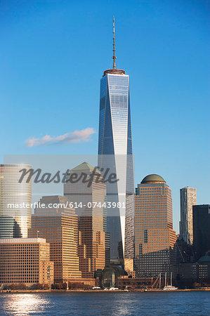 Manhattan skyline and river, New York, USA