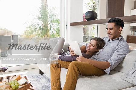 Couple on sitting room sofa looking at digital tablet