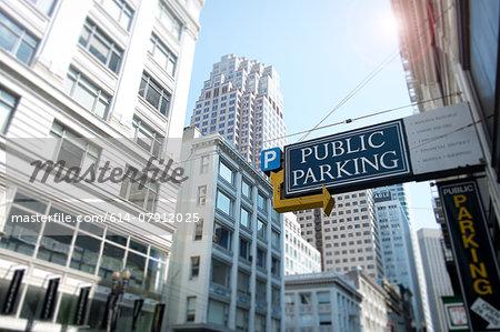 Parking sign, financial district, San Francisco, California, USA
