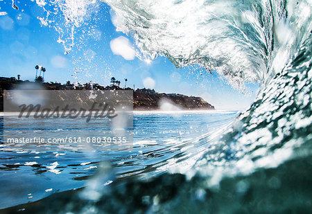 Barreling wave, close-up, California, USA