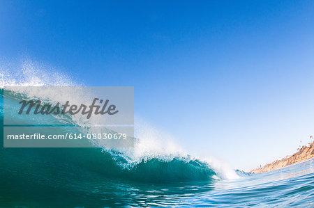 Big surfing ocean wave, Encinitas, California, USA