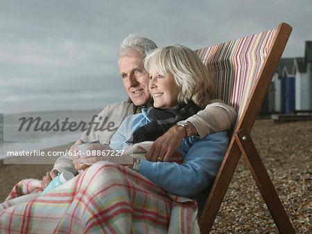 Seniors together on beach