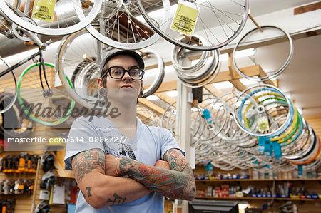 Portrait of Woman working in Bike Store