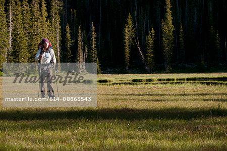 Hiker carrying pack in rural landscape
