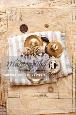 Ribbons Christmas ornaments and cloth