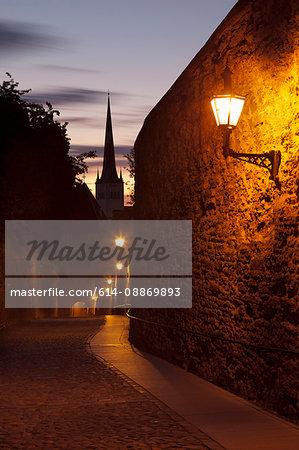 Streetlights along medieval city wall