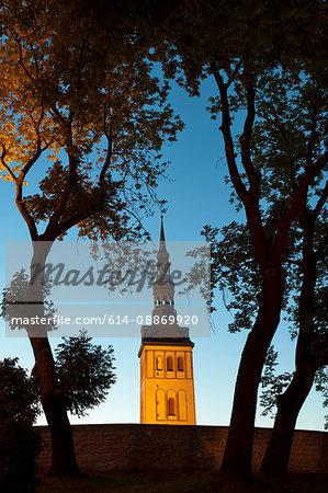 Church steeple overlooking city wall