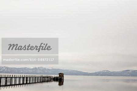Jetty and mountains, Lake Tahoe, California, USA