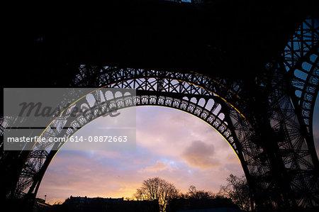 Underneath Eiffel Tower at sunset, Paris, France