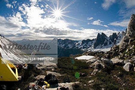 Backpacker at mountain camp, Picket Pass, North Cascades National Park, WA, USA