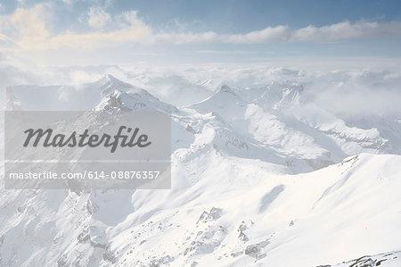 Misty view of Schilthorn, Murren, Bernese Oberland, Switzerland