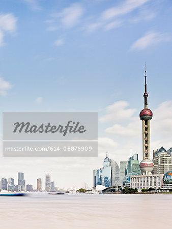 Pudong skyline and the Bund on river Huangpu, Shanghai, China