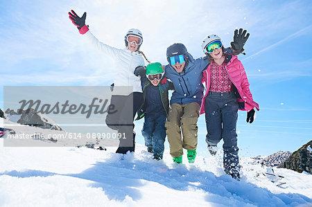 Family on skiing holiday, Hintertux, Tirol, Austria