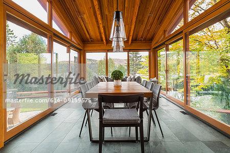 Dining table in gazebo of luxurious cedar wood home