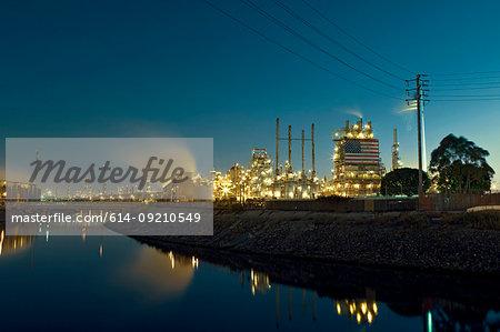 Power station at night, Carson, California, USA