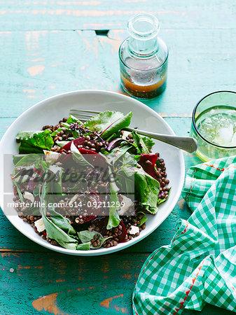 Plate of lentil, beetroot and feta salad