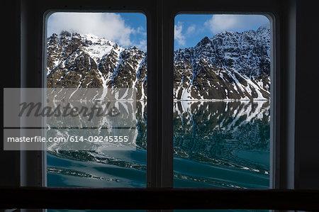 Lilliehook Glacier through Ocean Adventurer ship window, Spitsbergen, Svalbard Islands, Norway