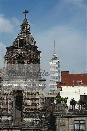 Mexico City Skyline with Latino Tower