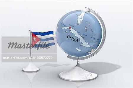 Globe shows Cuba closeup with ensign