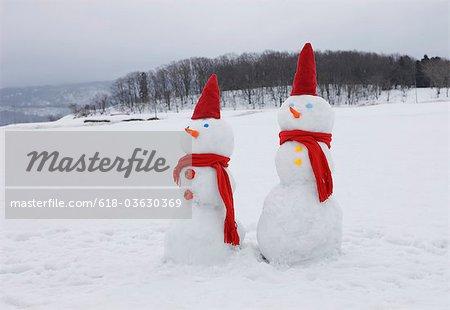 Two snowmen in snowy field