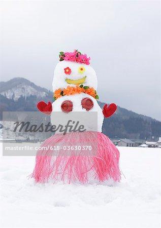 Snowman in snowy field