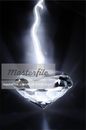 White shiny diamonds in dark